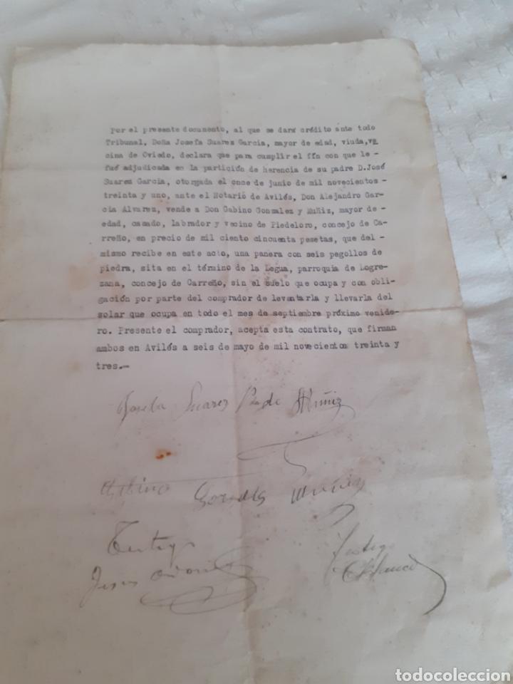 CARTA DE VENTA DE PANERA DE 6 PEGOLLOA A UN VECINO DE PIEDELORO CARREÑO ASTURIAS 1931 ,EN 1150 PTA (Coleccionismo - Documentos - Otros documentos)