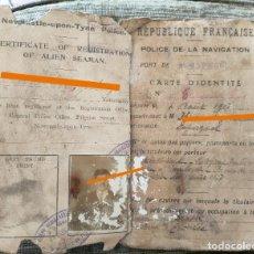 Documentos antiguos: ANTIGUO DOCUMENTO DE NAVEGACIÓN DE UN ESPAÑOL. MARINA. REPÚBLICA FRANCESA. AÑO 1917.. Lote 283202438
