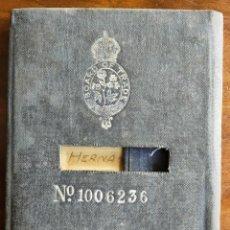 Documentos antiguos: LIBRO DE REGISTRO OFICIAL DE MARINERO ESPAÑOL. CERTIFICADO DE DESCARGA. MARINA. INGLATERRA. AÑOS 20.. Lote 283204638
