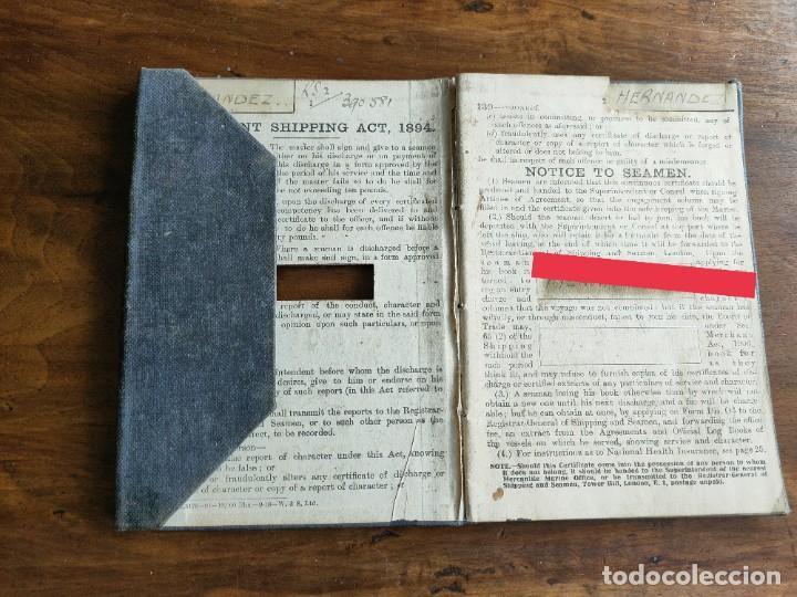 Documentos antiguos: Libro de registro oficial de marinero español. Certificado de descarga. Marina. Inglaterra. Años 20. - Foto 2 - 283204638