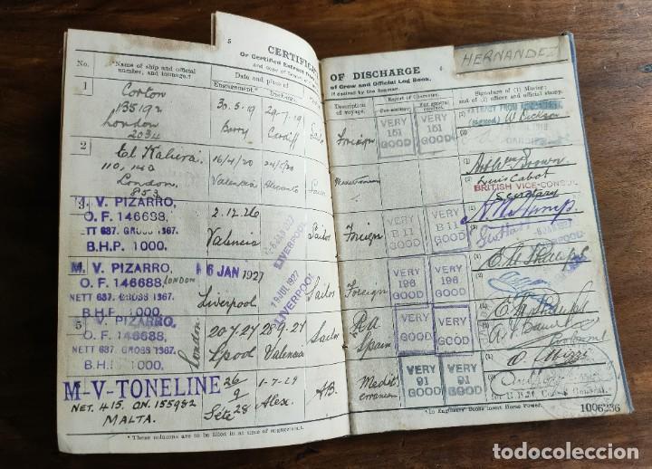Documentos antiguos: Libro de registro oficial de marinero español. Certificado de descarga. Marina. Inglaterra. Años 20. - Foto 4 - 283204638