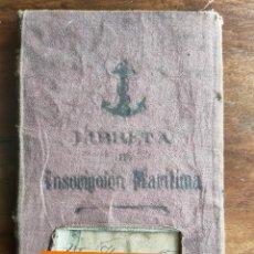 Documentos antiguos: ANTIGUA LIBRETA DE INSCRIPCIÓN MARÍTIMA.MARINA,APOSTADERO DE CARTAGENA.COMANDANCIA MARINA.VALENCIA.. Lote 283206058