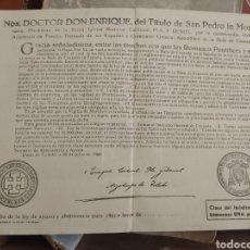 Documentos antiguos: INDULTO, LIMOSNA 1 PESETA POR ENRIQUE ARZOBISPO DE TOLEDO. Lote 283444353