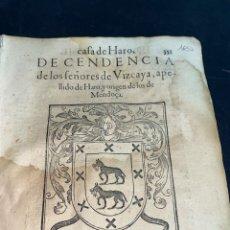 Documentos antiguos: 1600. HERÁLDICA-GENEALOGÍA. HISTORIA CASA DE HARO, SEÑORES DE VIZCAYA Y MENDOZAS ESCUDOS XILOGRÁFICO. Lote 283972248