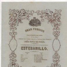 Documenti antichi: FUNCION COMPAÑIA LIRICA DRAMATICA DOÑA ELISA DE VALLE. ZARZUELA ESTEBANILLO. PAMPLONA. C. 1860. Lote 284740063