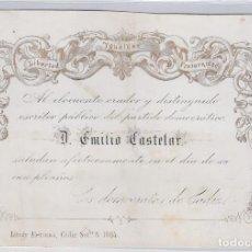 Documentos antiguos: LOS DEMÓCRATAS DE CÁDIZ A D. EMILIO CASTELAR. AÑO 1864. Lote 286193468