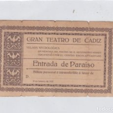 Documentos antiguos: GRAN TEATRO DE CÁDZ. VELADA NECROLÓGICA EN MEMORIA DE D. SEGISMUNDO MORET. AÑO 1912. Lote 286194138
