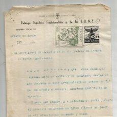 Documentos antigos: FET Y DE LAS JONS . ARENAS DE IGUÑA. CANTABRIA.1945. .AUXILIO DE INVIERNO 50 CÉNTIMOS.. Lote 286709968