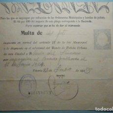 Documentos antigos: MULTA AYUNTAMIENTO CONSTITUCIONAL - 2 PESETAS - BANDO POLICÍA URBANA - VITORIA - AÑO 1925. Lote 286728683