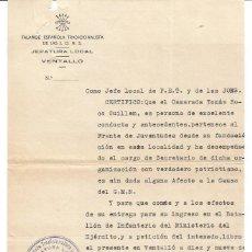 Documentos antigos: FET Y DE LAS JONS VENTALLÓ GERONA 1943. Lote 287388063