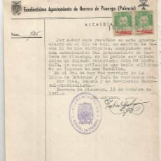 Documentos antigos: AYUNTAMIENTO DE HERRERA DE PISUERGA. PALENCIA PAREJA AUXILIO SOCIAL PAREJA 25CTS. 1951.. Lote 287495188