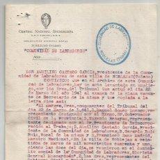 Documentos antigos: CENTRO NACIONAL SINDICALISTA. FET Y DE LAS JONS. COMUNIDAD DE LABRADORES NOBLEJAS. TOLEDO 1942. Lote 287495518