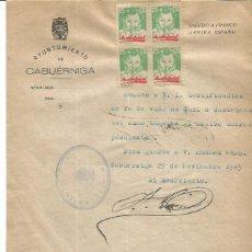 Documentos antigos: AYUN. CABUERNIGA. CANTABRIA. AUXILIO SOCIAL BLOQUE 4 25CTS 29NOV1945. Lote 287563528