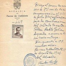 Documentos antigos: AYUNT. PARRAS DE CASTELLOTE. JOSE ANTONIO ARRIBA ESPAÑA 20CTS. 17 AGOSTO 1945. Lote 287564088