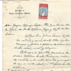 Documentos antigos: PARROQUAI SANTA CATALINA. LA SOLANA. CIUDAD REAL. AUXILIO DE INVIERNO 2 PTS 7JUN1944. Lote 287565118