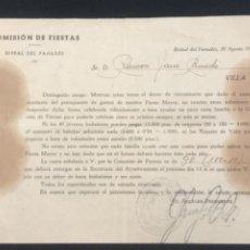 Documentos antiguos: CARTA DEL ALCALDE DE LA BISBAL DEL PENEDES SOLÉ CARALT. COMISIÓN DE FIESTAS. 1951. Lote 288130768