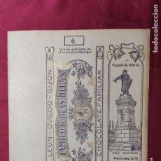 Documentos antiguos: ENVOLTORIO DE CHOCOLATE FAMILIAR CAMILO DE BLAS HERAS. LEON. OVIEDO. GIJON. Lote 288411648