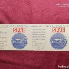 Documentos antiguos: ENVOLTORIO. LECHE CONDENSADA SPAR. FABRICA DE SEBARES. ASTURIAS.. Lote 288413168