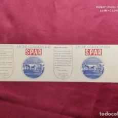 Documentos antiguos: ENVOLTORIO. LECHE CONDENSADA SPAR. FABRICA DE SEBARES. ASTURIAS.. Lote 288413208