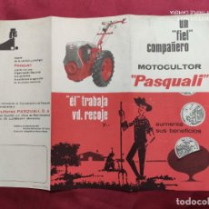 Documentos antiguos: TRIPTICO PUBLICITARIO. MOTOCULTOR PASQUALI. MAQUINARIA AGRÍCOLA. 1966. Lote 288581858
