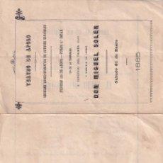 Documentos antiguos: TEATRO DE APOLO DON MIGUEL SOLER 1885 EL SALTO DEL PASIEGO. LUIS EGUILAZ SRTA SOLER. Lote 288699128