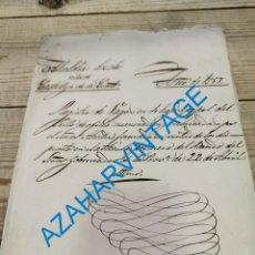 Documentos antiguos: 1857, CERTIFICACION NEGATIVA Y REGISTRO MUNICIPAL DE VAGOS, RARO. Lote 288988983