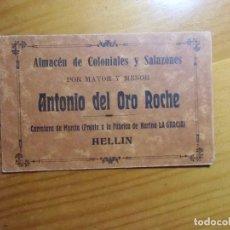 Documentos antiguos: HELLIN.ALMACENES DE COLONIALES Y SALAZONES.BONITO SOBRE PUBLICITARIO.SORTEO.1923.. Lote 289479868