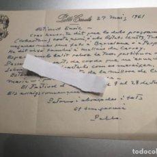 Documentos antigos: CARTA DE PAU CASALS MANUSCRITA 1961. Lote 289755098