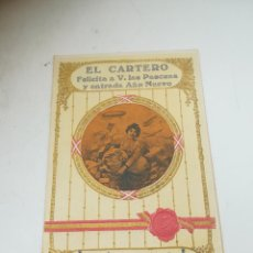 Documenti antichi: EL CARTERO FELICITA PASCUAS Y ENTRADA AÑO NUEVO. 1915-1916. CON TARIFAS PARA LA CORRESPONDENCIA.. Lote 290002163