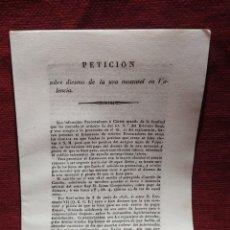 Documentos antiguos: 1834. PETICIÓN SOBRE DIEZMO DE LA UVA MOSCATEL EN VALENCIA.. Lote 290314403