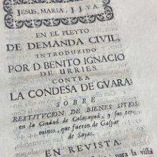 Documentos antiguos: CONDESA DE GUARA. RESTITUCION BIENES SITOS EN CALATAYUD Y TÉRMINOS. 1737. Lote 293649568