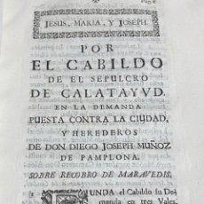 Documentos antiguos: CABILDO DEL SEPULCRO DE CALATAYUD SOBRE RECOBROS DE MARAVEDIS. 1744.. Lote 293650183