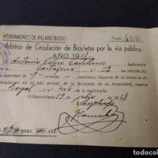 Documentos antiguos: ARBITRIO CIRCULACION BICICLETAS AYUNTAMIENTO VILLAROBLEDO. Lote 293675303