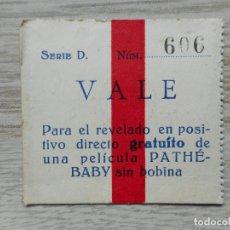 Documentos antiguos: ANTIGUO VALE REVELADO PELICULA PATHE BABY. BARCELONA.. Lote 293824018