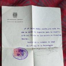 Documentos antiguos: UNIVERSIDAD CENTRAL-FACULTAD DE CIENCIAS-V37-B-MADRID 1946. Lote 293880518
