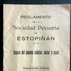 Documentos antiguos: REGLAMENTO DE LA SOCIEDAD PECUARIA DE ESTOPIÑÁN / GANADO CABALLAR MULAR Y ASNAL / HUESCA 1928. Lote 294900778