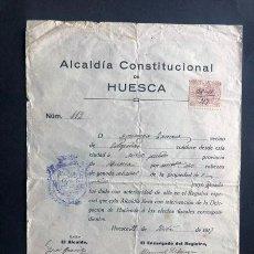 Documentos antiguos: ALCALDÍA CONSTITUCIONAL HUESCA 1917 / DOCUMENTO PARA TRASLADO POR CARRETERA DE 2 CABALLOS. Lote 294915193