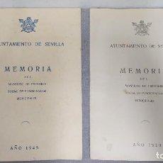 Documentos antiguos: AYUNTAMIENTO DE SEVILLA MEMORIAS DEL MONTEPÍO DE PREVISIÓN SOCIAL DE FUNCIONARIOS 1949 Y 1950.. Lote 295033623