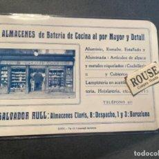 Documentos antiguos: ANTIGUO TARJETON PUBLICITARIO ALMACENES DE BATERIA DE COCINA AL POR MAYOR Y DETALL SALVADOR RULL C.. Lote 295306438