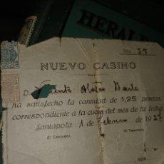 Documentos antiguos: 1926 NUEVO CASINO DE SANTA POLA ALICANTE MUY ANTIGUO ABONO DE CUOTA. Lote 295385498