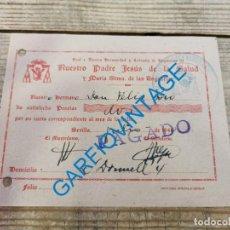 Documentos antigos: SEMANA SANTA SEVILLA, 1940, RECIBO HERMANO HERMANDAD DE LOS GITANOS. Lote 295418198