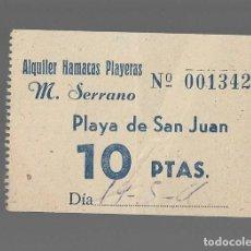 Documentos antigos: TICKET HAMACAS PLAYERAS ALQUILER SERRANO PLAYA DE SAN JUAN ALICANTE. Lote 295424683