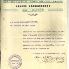 Documentos antiguos: 3748.-ZARAGOZA-GRANDES SEDERIAS ALMACENES DEL CARMEN-CARTA DE RECOMENDACION-AÑO 1938. Lote 295486508