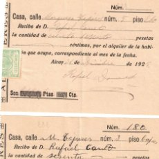 Documentos antiguos: LOTE 2 RECIBOS ALQUILER HABITACIÓN EN ALCOY - AÑO 1925. Lote 295514043