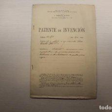 Documentos antiguos: PATENTE DE INVENCIÓN, 1907, FÁBRICA VALLS Y HERMANOS, CON PLANO, INFORMACIÓN. Lote 295814778