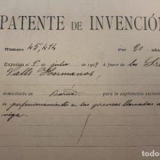 Documentos antiguos: PATENTE DE INVENCIÓN, 1909, FÁBRICA VALLS Y HERMANOS, CON PLANO, INFORMACIÓN. Lote 295815348
