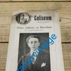 Documentos antiguos: BARCELONA-COLISEUM-UNICA AUDICION RUBINSTEIN-PROGRAMA AÑO 1927-. Lote 296572628