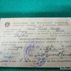Documentos antiguos: CERTIFICADO ESTUDIOS PRIMARIOS 1950. Lote 296614903