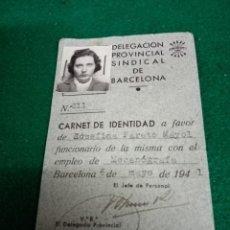 Documentos antiguos: CARNET DE IDENTIDAD 1941. Lote 296615023
