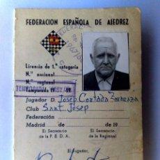 Documentos antiguos: CARNET IDENTIDAD FEDERACION ESPAÑOLA DE ALJEDREZ,LICENCIA JUGADOR 1ªCATEGORIA.. Lote 296876728